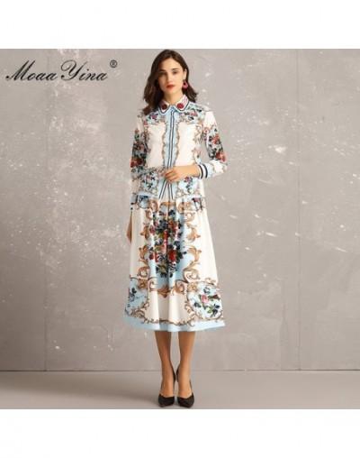 Fashion Designer Set Spring Women Long sleeve Floral-Print Beading loveliness Elegant Blouse+Midi Skirt Two-piece suit - Mul...