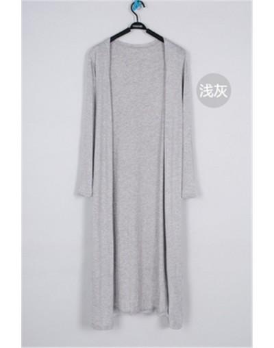 Korean 2019 Women Summer Thin Kimono Cardigan Long Sleeve Loose Hem Long Cardigan Women Outerwear Black white tops - light g...