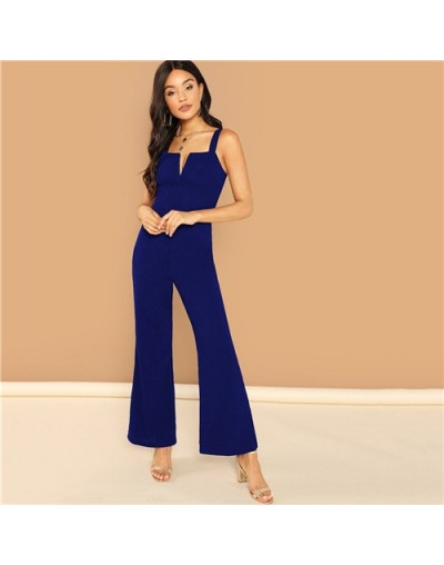 Navy Solid Thick Strap V-Notch Front Flared Elegant Jumpsuit Women 2019 Summer Sleeveless High Waist Wide Leg Rompers - Blue...