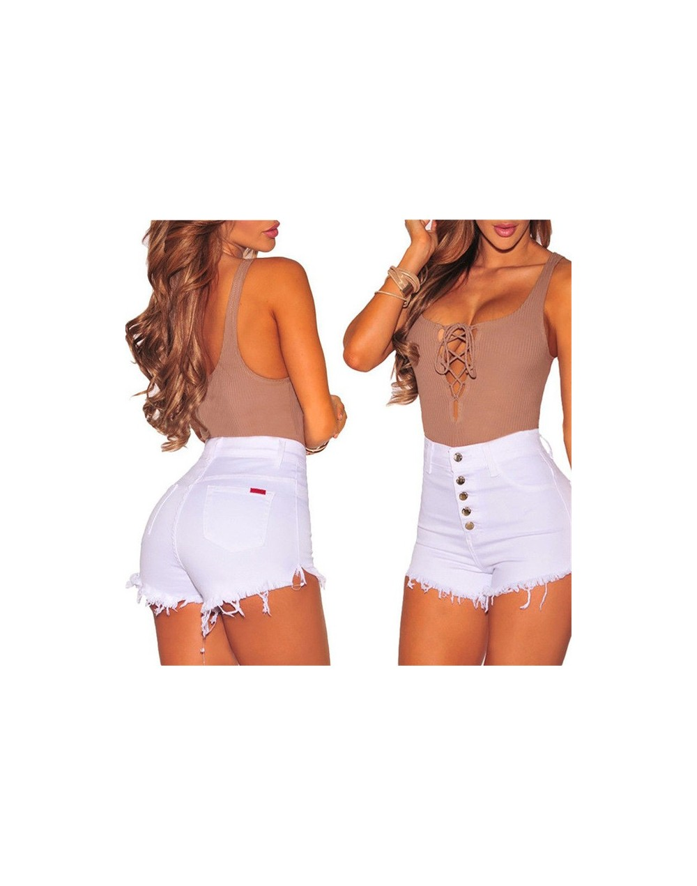 Hot Summer Women Casual High Waist Shorts 2019 Solid Mini Button Short Pants Black White Tassel Sexy Slim Shorts Woman Botto...