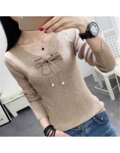 2018 winter clothes new Korean Slim sweater shirt fashion long sleve women tops bow stitching pullover sweater with pearls Y...