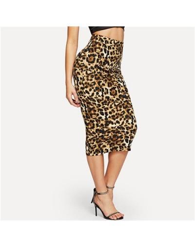 High Waist Leopard Bodycon Skirt Women Multicolor Long Skirts 2019 Autumn Fashion Womens Glamorous Midi Pencil Skirt - Multi...