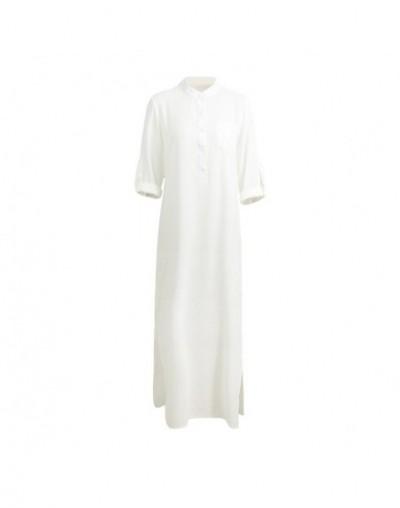 5XL Plus Size Vestidos 2019 Spring Fashion Women Sexy Casual Shirt Dress Long Sleeve Deep V Neck Split Solid Long Maxi Dress...
