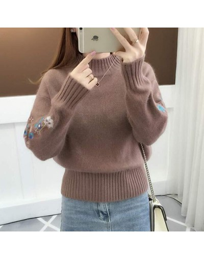 2019 Winter Thick Warm Beautiful Embroidery Turtleneck Sweater Women Long Sleeve Knit Pullover Sweater Female Pull Femme - C...
