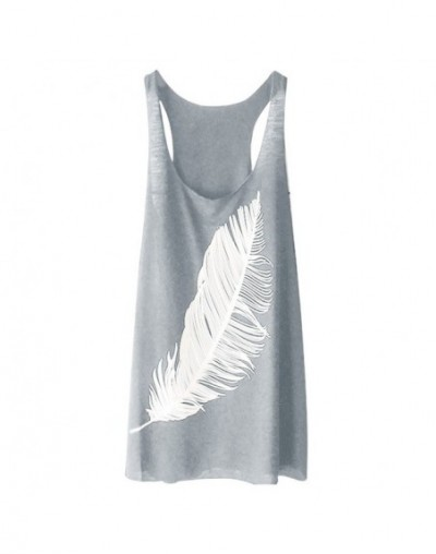 Women's Tank Top Summer Casual Fashion Feather Print Round Neck Sleeveless Long Vest Fashion Ladies Tank Top Camisas Mujer Y...