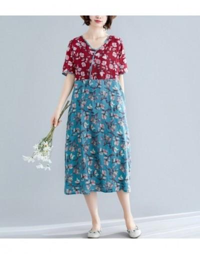 2019 New Summer dress Vintage loose Cotton Linen long dress Vestidos Robe Fashion Floral Women Dresses - red - 4T4124777248-2