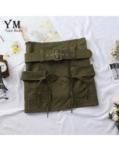 Vintage Big Pockets High Waist Skirts Womens 2019 Korean Style Cargo Summer Skirt Soft Hot A Line Short Skirt with Belt - Ar...