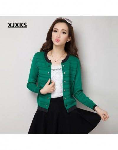 Sweaters Woman Autumn Long Sleeve Sweater Cardigan Plus Size Short Outerwear Knitwear Women Cardigans 7 Colors - Green - 4G3...