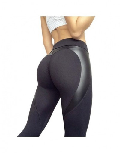 Women High Waist Black Leggins Push Up Sexy Hip Patchwork Leather Pants Bodybuilding Sportswear Leggings Ladies Autumn Leggi...