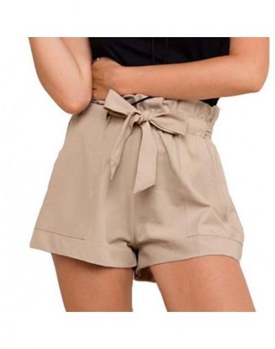 Women ladies Summer Casual Shorts Beach High Waist Tie Belt Short Fashion Pocket Shorts Women Solid Cotton Shorts Black Whit...
