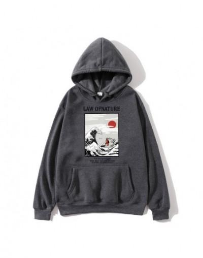Japanese embroidery funny cat wave print fleece hoodie 2019 winter Japanese style hip hop casual sweatshirt ladies - Dark Gr...