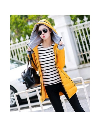 2017 Cheap wholesale autumn winter new Cotton-padded jacket knitted gloves medium-long women's wadded slim all-match Jacket ...