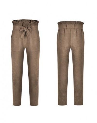 Fashion Women's High Waist Drawstring Elastic Long Pants Casual Pencil Trousers - Khaki - 4O3015881449-6