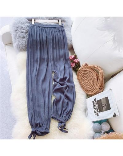 Summer Ice silk wide leg pants Women Elatic High Waist Harem Pants Casual Pocket Ladies Sweatpants Fashion Candy Colors Trou...
