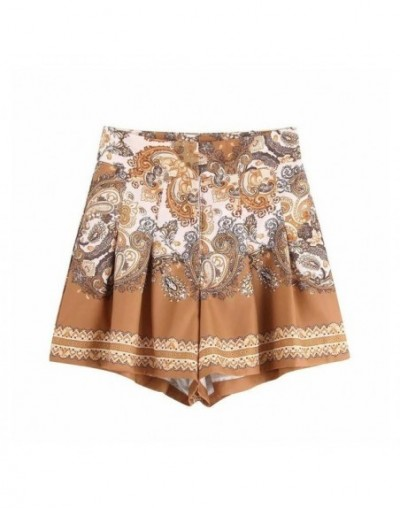 Vintage Placement Print Women Pleated Shorts Leisure Female Loose Shorts 2019 Summer Style Fashion Street clothing P1215 - a...