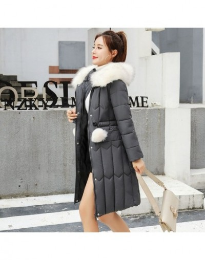 Winter Women long parkas jackets Plus size M-5XL thick warm big fur collar female Slim sintepon parkas outwear coat - Dark G...