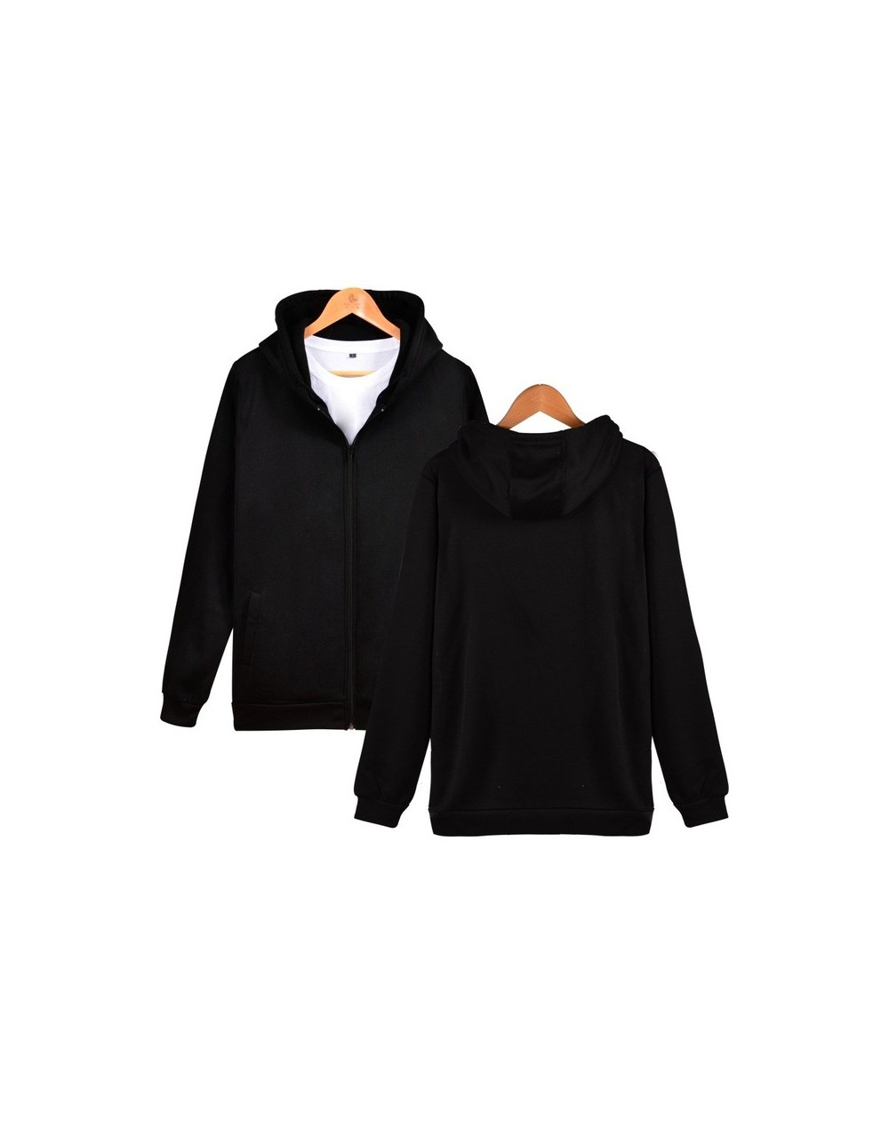 Winter Solid Color Hooded Sweatshirts Boy Zipper Hoodies Fashion Funny Coat Casual Hoodies Boy Hip Hop 4XL Clothes - Black -...