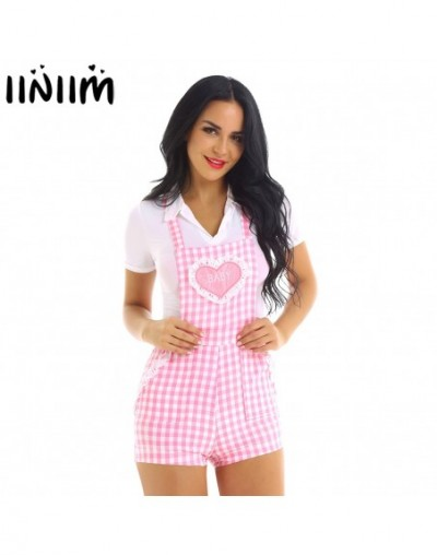 Femme Womens Cute School Clothing Baby Patch Adjustable Straps Criss-cross Back Gingham Print Babydoll Short Overalls Shorta...