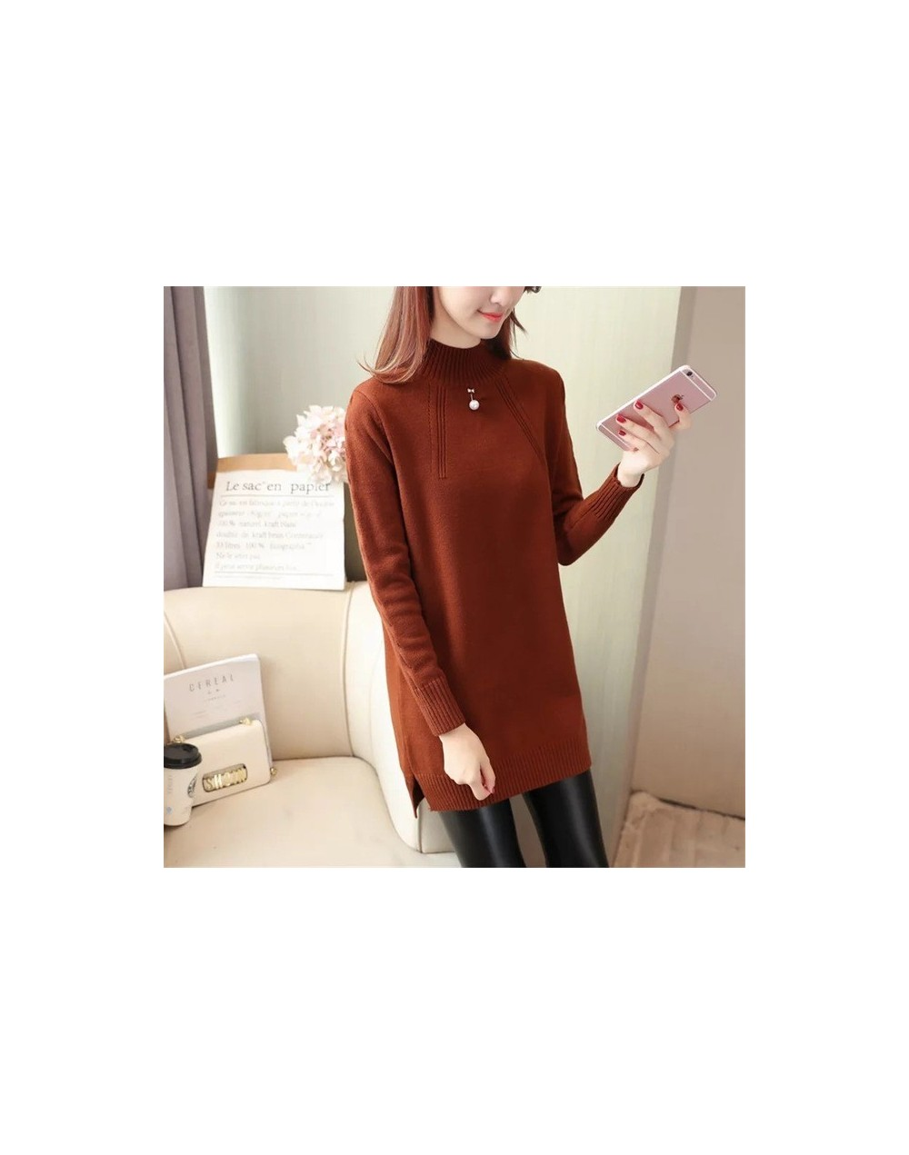 New Fashion 2019 Women Autumn Winter Embroidery Rabbit Brand Long Sweater Dress Pullovers Warm Sweaters Pullover Lady - Red ...