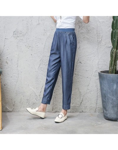 2019 New Fashion Summer Women Thin Jeans Elastic waist Loose pocket Harem pants Large size Casual Ladies Trousers L-4XL A162...