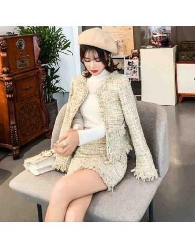 Luxury Designer Tweed Jacket 2019 Autumn Winter Elegant tassel Women High waist Skirt set Office Lady Coat - picture color -...