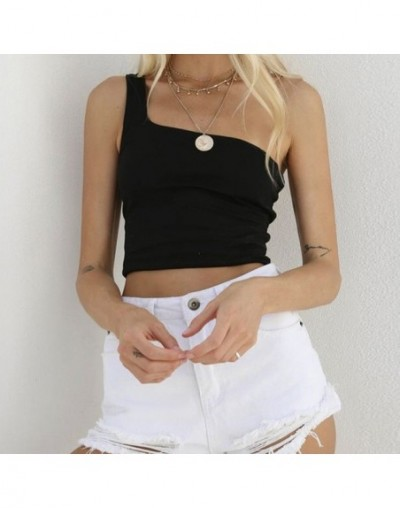 Solid Tank Tops 2019 Summer New Casual One Shoulder Tanks Woman Clothing High Quality Tops For Female - Black - 4A3077150706-1