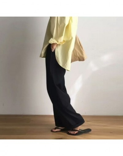 Maxi Pants For Women High Waist Zipper Pocket Summer Big Large Size Long Trousers 2019 Fashion Elegant Clothing - Black - 4F...