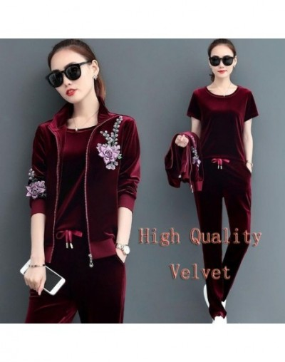 Outfit tracksuit sportswear co-ord set cloth for women velvet 3 2 piece set winter autumn matching embroidery top wide pant ...