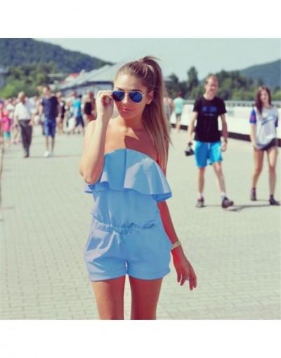 Women Jumpsuit Solid Color Off Shoulder Bandeau Ruffles Jumper Casual for Summer JS24 - Light blue - 4000091073564