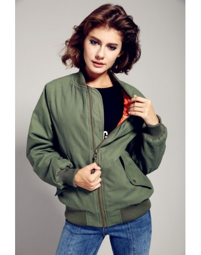 2019 New Autumn Winter Fashion Street Bomber Jacket Cusual Quilted Cotton Green Women's Zipper Outerwear - green - 4Y3873561...