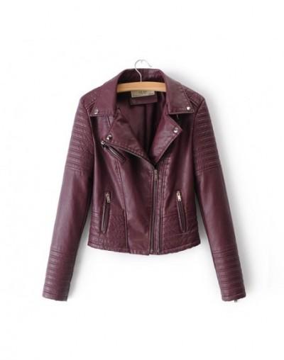 2019 New Fashion Women Soft Motorcycle Faux Leather Jackets Ladies Long Sleeve Autumn Winter Biker Streetwear Black Pink Coa...