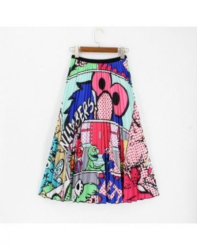 2019 Summer Long Pleated Skirt High Elasticity Cartoon Women's Skirt Printing Midi Jupe Femme Plus Size Green Skirt - A18 - ...