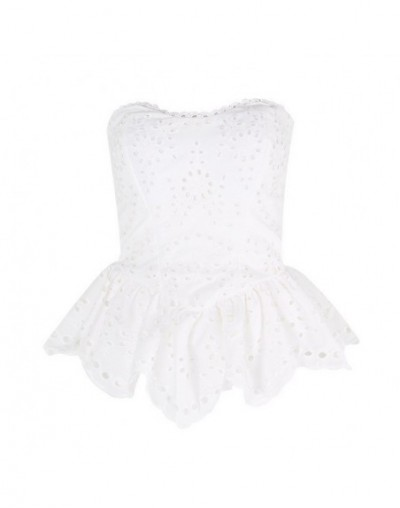 Casual Print Sleeveless Women Blouse Off Shoulder Lace Patchwork Irregular Slim Shirt Female Fashion Summer 2019 - white - 4...