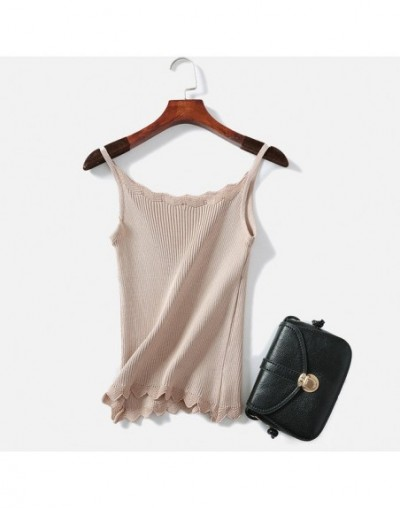 Womens Knitted Ribbed Sexy Tank Top Crop Tops Sleeveless Solid Hollow Out Vest Camisole Female 2019 Spring Wave Cut Cami Wom...