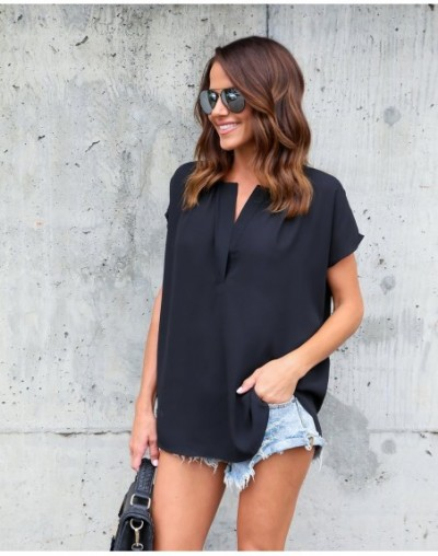 Women's summer fashion custom color shirt simple and simple v-neck chiffon shirt short-sleeved loose casual women's TE33 - T...