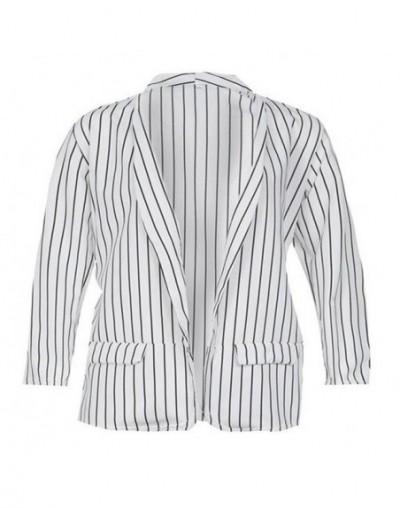 Women Autumn Spring Clothes Striped Casual Slim Long Sleeve V-Neck Ladies Blazer Regular Size Open Stitch Polyester - White ...