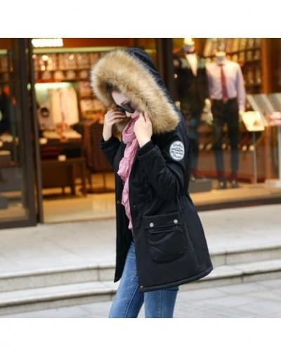 2019 Winter Jacket Women Wadded Jackets Female Outerwear Winter Hooded Coat Cotton Padded Fur Collar Parkas Plus Size - Blac...