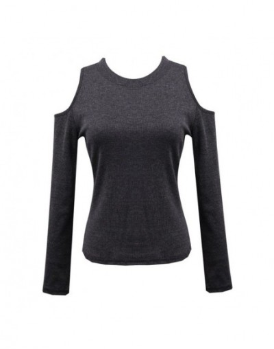 Sexy Women Off Shoulder Long Sleeve Knitted Sweater Solid Skinny Slim Sweater - Dark Grey - 4M3803949340-3