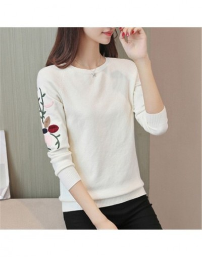 New Fashion 2018 Women Autumn Spring Embroidery Flower Sweater Pullovers Casual Warm Female Knitted Sweaters Pullover Lady P...