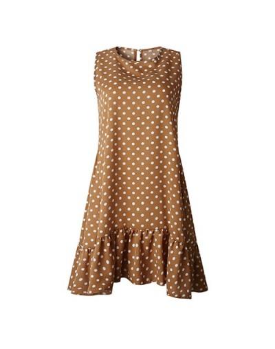Plus Size Dot Print Summer Dress 2019 Spring Ruffles Midi Knee Length Beach Sundress Female Sleeveless Big Party Dress - Kha...