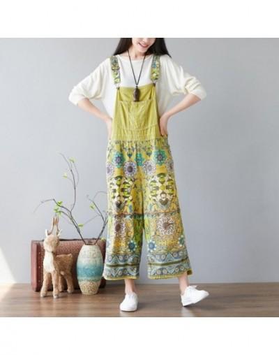 New Vintage Women Jumpsuit Pockets Floral Print Loose 2019 Summer Fashion Plus Size Casual Women Wide Leg Jumpsuit - Green -...