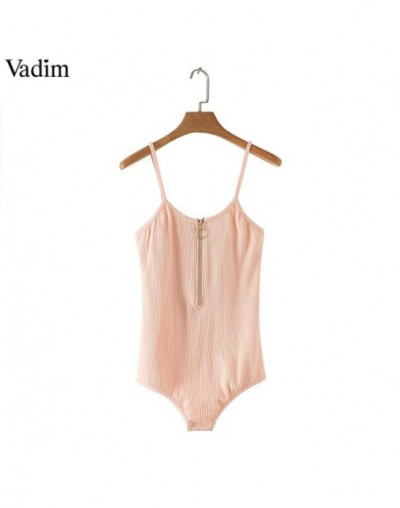 women sexy front Zipper bodysuits stretchable basic sleeveless playsuits female casual fashion tops ZC089 - Pink - 4P3003299...