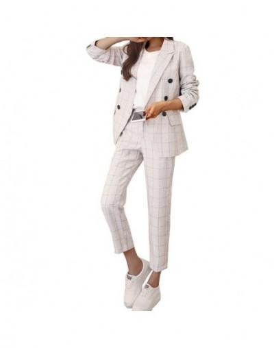 Set 2 Pieces Women Outfits blazer+pants 2019 Spring Vintage Plaid Lady Office Suits Female Tracksuits Workwear Ensemble Femm...