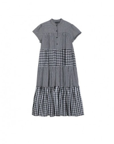 2019 New Spring Summer Stand Collar Short Sleeve Black Plaid Loose Layers Stitch Long Cake Dress Women Fashion Tide JU284 - ...