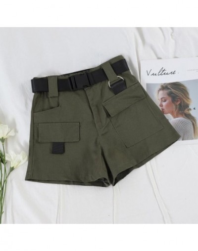 casual high waist overalls women loose thin casual multi-pocket shorts belt - Army Green 4 - 434166207970-2