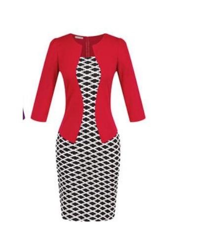 Fashion Women Career Dress Sets Formal Pencil Dress Suits Print Flower Plaid Office Wear Work Dress Clothes Free Send Belts ...