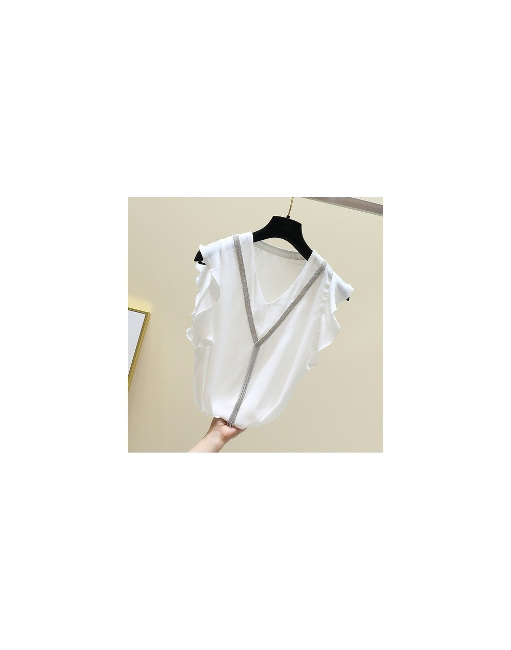 Summer Sweet Solid Chiffon Women Shirt V Neck Butterfly Sleeve Loose Slim Female Top Clothing 2019 Fashion New - white - 4G4...