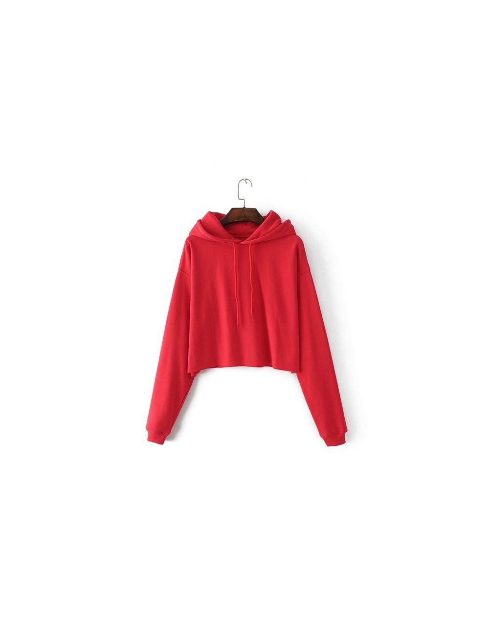 Basic Sweatshirt 2018 Spring Autumn New Hooded Long Sleeve Loose Hoodies Women Fashion Sporty Sweatshirts Pullovers - red - ...