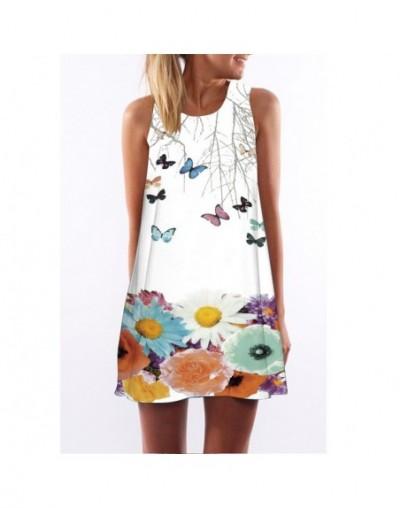 Vestido de Festa 2018 Women Chiffon Dress Butterfly Print Summer Style Womens Dress Sleeveless Party Dresses Sundress - pict...