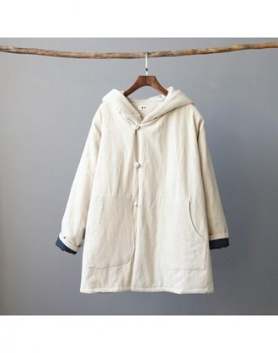 2019 Winter New Cotton Linen Women Hooded Parkas Pockets Vintage Button Coats Thick Warm Women Clothes Parkas Coats - Linen ...